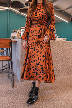 Fashion Round Neck Leopard Grain Printed Belted Maxi Dress