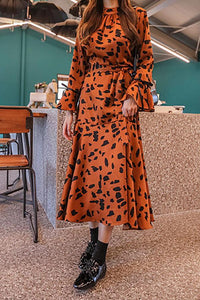 Fashion Round Neck   Leopard Grain  Printed  Belted Maxi Dress Same As Photo one size