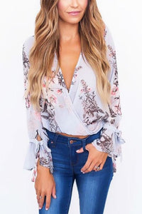 Floral Print Long Sleeved V Neck Shirt Detail s