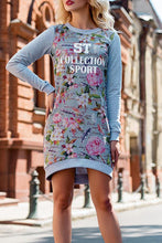 Casual Floral Printed Long Sleeve Bodycon Dress