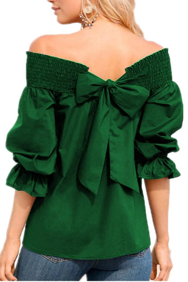 One-Word Back Bow T-Shirt green s