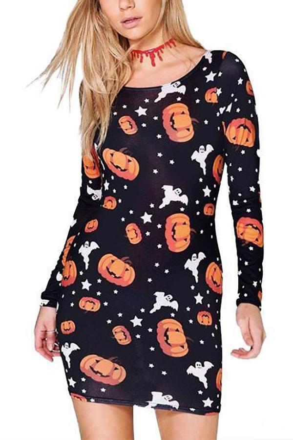 Halloween Pumpkin Printed Long-Sleeve Dresses Detail s