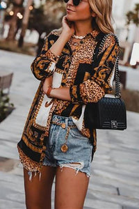 Fashion Leopard Print Long-Sleeved Shirt Same As Photo s
