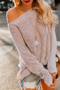 Shoulders Casual Loose Shoulder Thin Sweater Apricot s