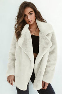 Elegant Lapel Solid Winter Velvet Women Outwear white s