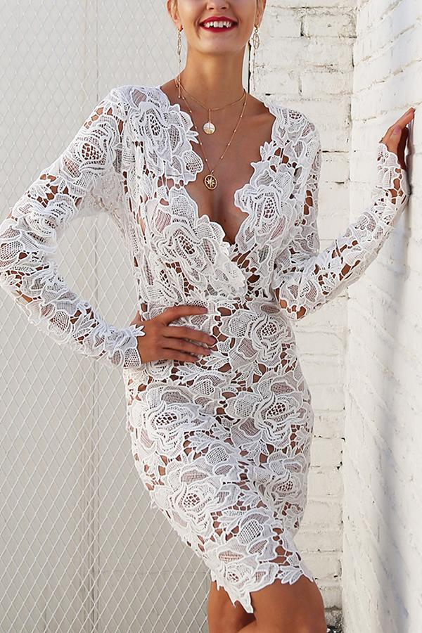 Sexy Lace Long-Sleeved Bodycon Dresses white s