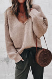 V Neck Long Sleeve Plain Knitting Sweaters Khaki m