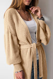 Fashion Long Lantern Sleeve Belt Knitting Cardigans Apricot one size