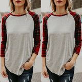 Fashion Long   Sleeve  Round Collar Loose And   Irregular Plaid  T-Shirts Blouse Light Gray m