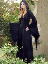 Flared Sleeves Split-joint Hooded Maxi Dress