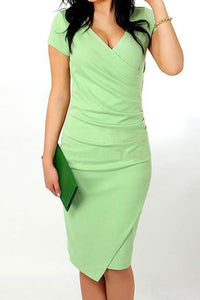 V Neck  Asymmetric Hem  Plain Bodycon Dress light_green s