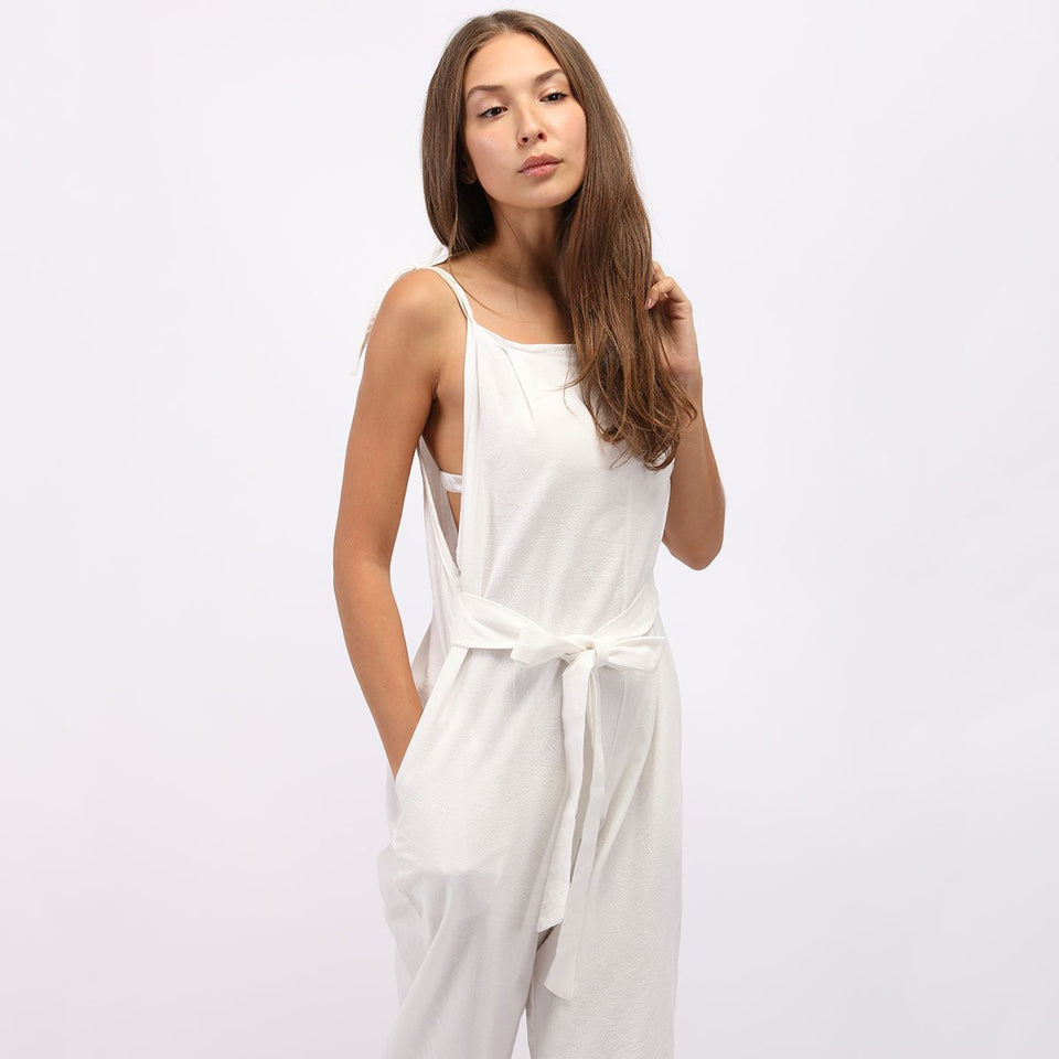 Fashion White Sleeveless Pockets Vintage Jumpsuits green s
