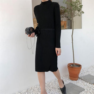 Fashion Long Sleeves   Round Collar Shown Thin Knitted Sweater Maxi Dress
