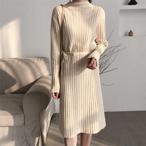 Fashion Long Sleeves   Round Collar Shown Thin Knitted Sweater Maxi Dress Black one size