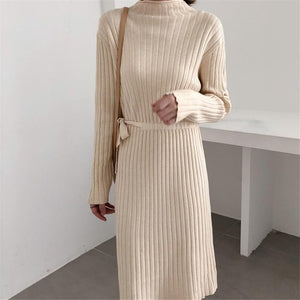 Fashion Long Sleeves   Round Collar Shown Thin Knitted Sweater Maxi Dress Coffee one size