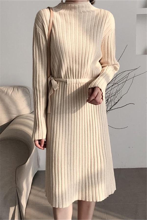 Fashion Long Sleeves   Round Collar Shown Thin Knitted Sweater Maxi Dress Apricot one size