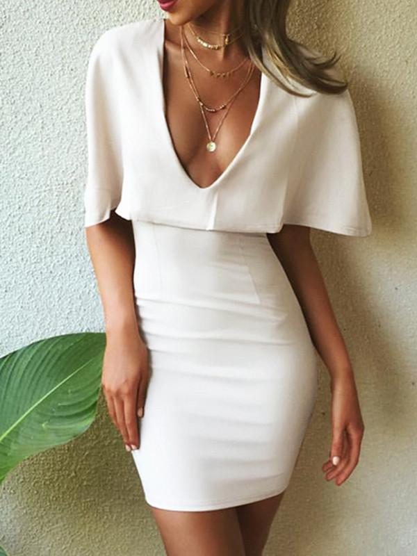 Sexy White V Neck Cape Sleeve Bodycon Mini Dress WHITE S
