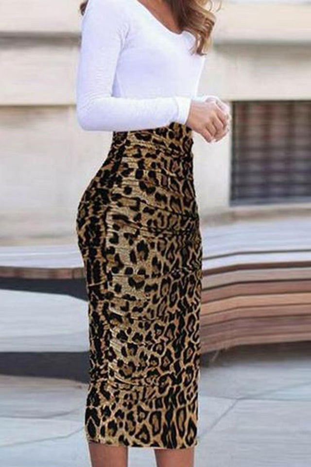Autumn Leopard Printed Bodycon Dress Same As Photo l