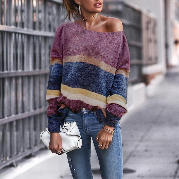 Fashion Off Shoulder Stripe Long Sleeve Sweaters same_as_photo l