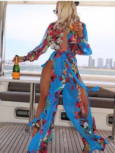 Chiffon Floral-Print Long Sleeve Deep V Neck Side Split Maxi Dress XL(Sleeve26 Length55.5)