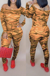 Roaso Casual Camouflage Printed Jumpsuit XXL Croci