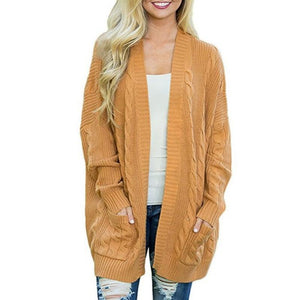 Kangaroo Pocket  Plain Basic  Cardigans yellow m