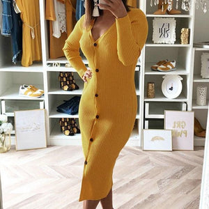 Fashion Round Neck Buttoned Sexy   Slim Dress Yellow m