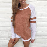Round Neck  Patchwork T-Shirts Brown xl