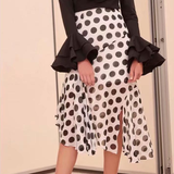 Elegant Casual Chic Slim Dot High Waist Irregular Hem Bodycon Skirt white_black m