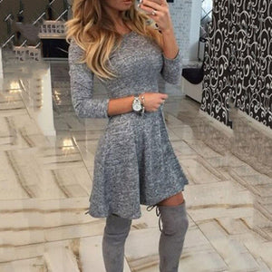Round Neck  Plain  Three Quarter Sleeve Skater Dresses gray l