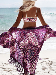 Chiffon Tassel Ornamental Vacation Floral-Print Beach Cover-Ups PURPLE FREE(Bust56.7 Sleeve13.4 Length38.6)
