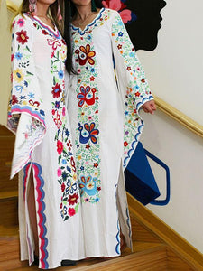 Pink Blue Fairy Sleeves Embroidered Maxi Dress RED XL