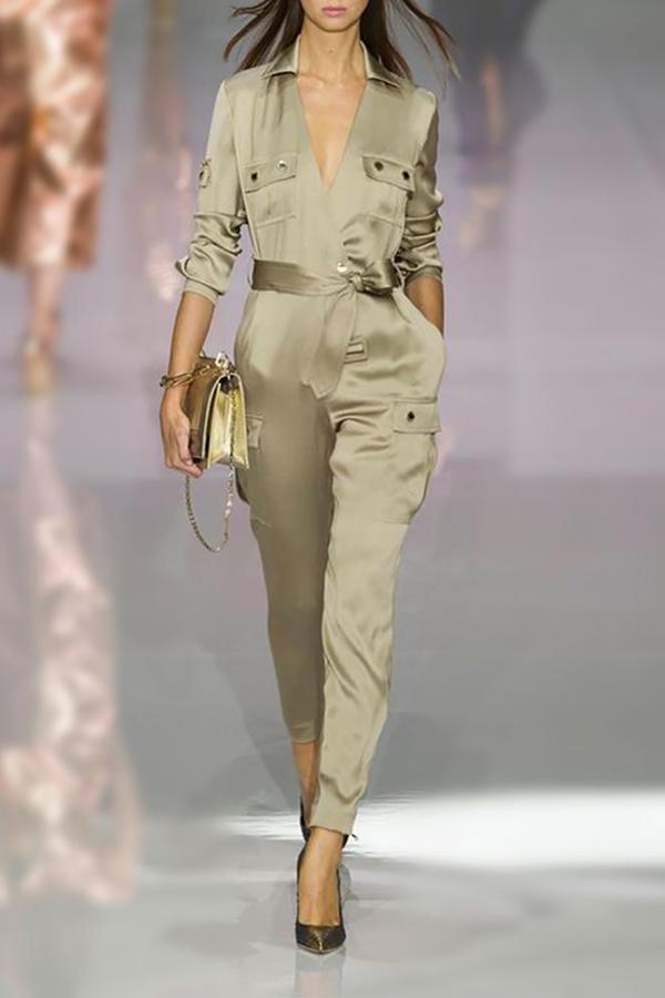 Army Green V Collars For Fall\/Winter Jumpsuit army_green s