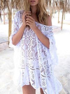 Lace Embroidered Backless Beach Cover-Ups WHITE FREE SIZE