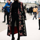 Chic Lapel Collar Pink Flower Printed Long Coat Same As Photo l