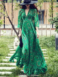 Bohemia Chiffon Green Flared Sleeves V-neck Maxi Dress XL
