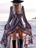 Pretty Chiffon Bohemia Floral Front Split with Tie Long Sleeve Maxi Dress GRAY PURPLE FREE SIZE