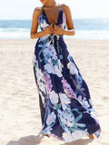 Popular Cotton Floral Printed  Off Back Deep V Neck Maxi Dress L