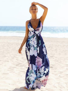 Popular Cotton Floral Printed  Off Back Deep V Neck Maxi Dress S
