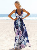 Popular Cotton Floral Printed  Off Back Deep V Neck Maxi Dress M