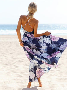 Popular Cotton Floral Printed  Off Back Deep V Neck Maxi Dress XL