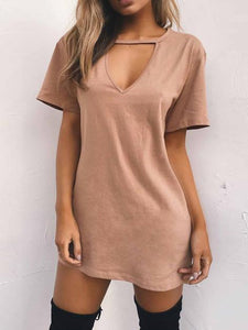 Popular Solid Color Short Sleeve V Neck Mini Dress PINK S