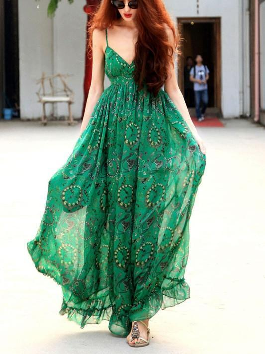 Green Chiffon Floral-Print Straps V Neck Bohemian Beach Maxi Dress GREEN S(Bust30.7-32.3 Length61)