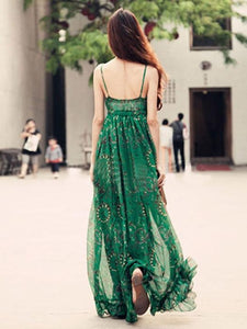 Green Chiffon Floral-Print Straps V Neck Bohemian Beach Maxi Dress GREEN L(Bust33.9-35.5 Length62.6)
