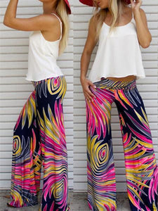 Popular Feather Printed Wide Leg Long Pant L