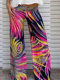 Popular Feather Printed Wide Leg Long Pant S