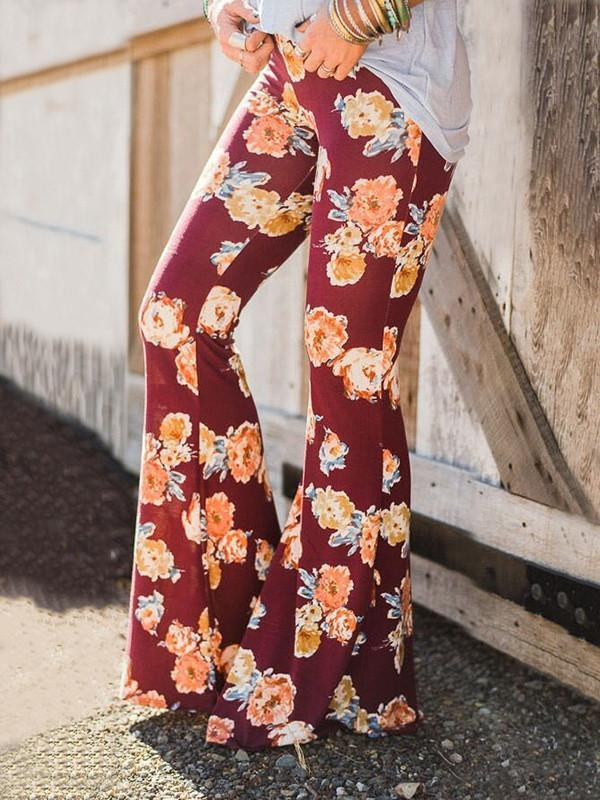 Popular Floral Printed Bell-Bottom Pant RED L