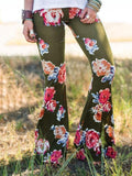 Popular Floral Printed Bell-Bottom Pant RED M