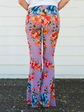 Popular Floral Printed Bell-Bottom Pant BLACK XL