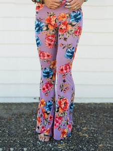 Popular Floral Printed Bell-Bottom Pant BLACK L